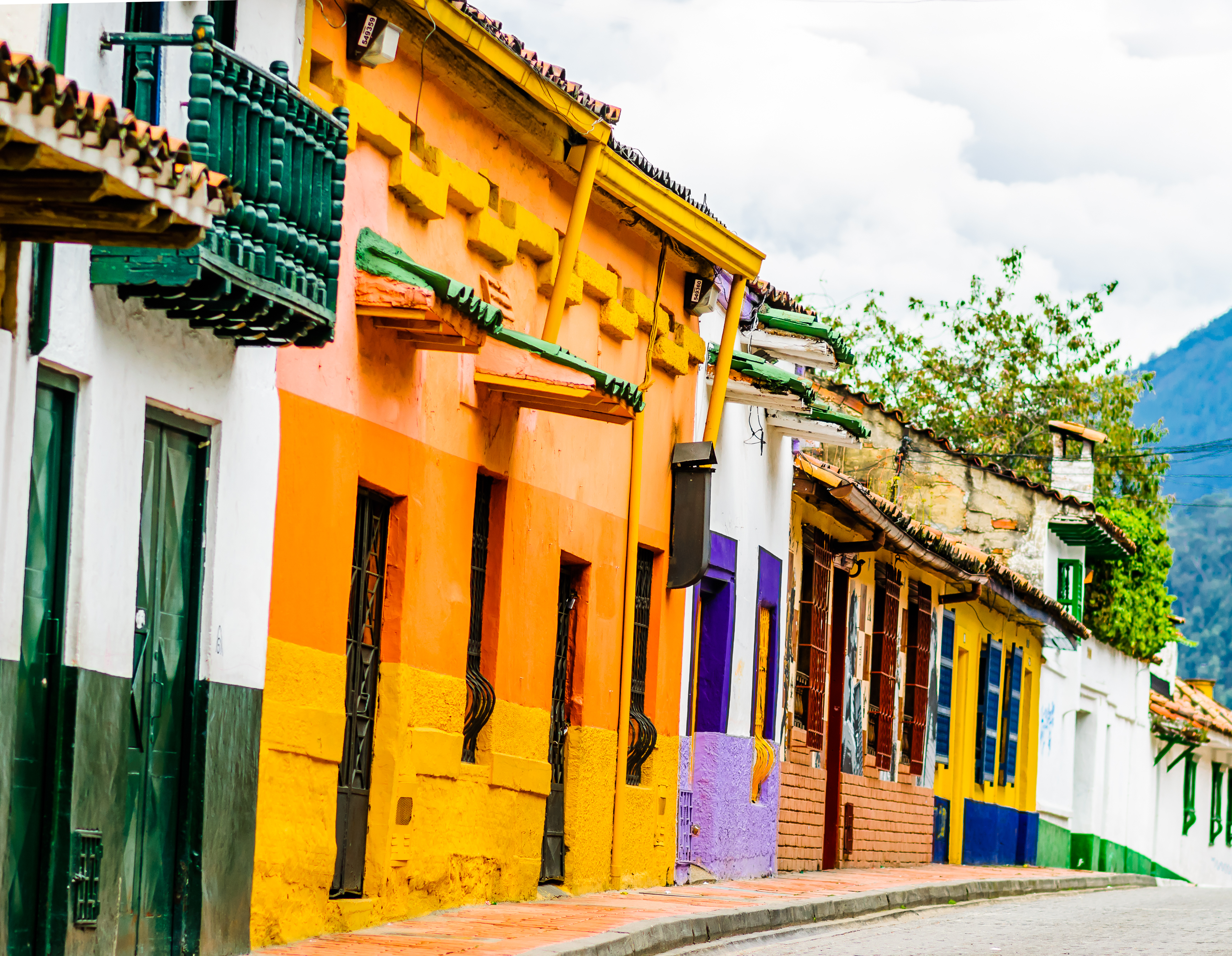 View on colorful Colonial building in the historical center of Bogota - Colombia